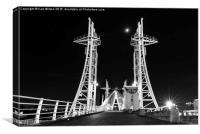 Salford Quays lift bridge , Canvas Print
