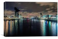 Glasgow Clyde At Night, Canvas Print