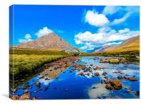 Etive Mor and Bridge to Glencoe, Canvas Print