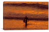 Sunset Surfing, Canvas Print