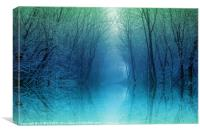 Moonlight Misty Pool, Canvas Print