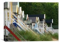 Wells on Sea Beach Huts, Canvas Print