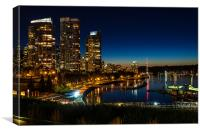 Coal Harbour Night Scene, Canvas Print