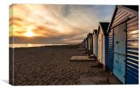 Sunset Beach Huts, Canvas Print