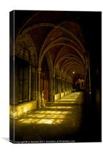 cathedrale cloister belgium, Canvas Print