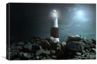 Portland Lighthouse at night, Canvas Print