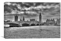 Big Ben and Westminster B&W, Canvas Print