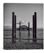 Old Pier Black and White, Canvas Print