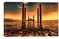 sunset across brighton pier, Canvas Print