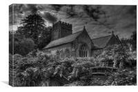 All Saints Church Black and White, Canvas Print