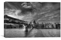 St Pauls and Millennium Bridge, Canvas Print