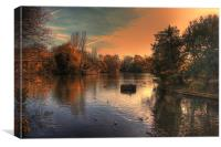 Autumn evening over the lake, Canvas Print