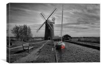 Horsey Windpump and Boat, Canvas Print