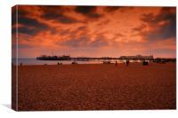 Brighton Beach and Pier, Canvas Print