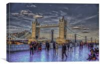 Tower Bridge Tourists, Canvas Print