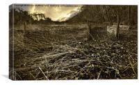 vintage tin sheet sheep pen, Canvas Print