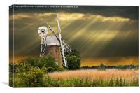 windmill with sunbeams, Canvas Print