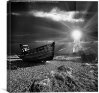 abandoned fishing boat and lighthouse, Canvas Print