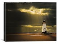 talacre lighthouse with sunbeams, Canvas Print