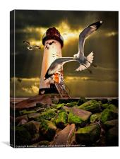 Talacre lighthouse with seagulls, Canvas Print
