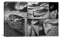 montage of boat wrecks, Canvas Print