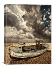dreamy wrecked wooden fishing boats, Canvas Print