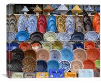 Tunisian Coloured Pottery Display, Canvas Print
