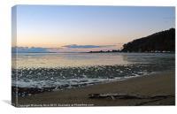 Log on beach at sunset, Canvas Print