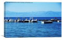 Albania behind the boats, Canvas Print