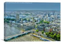 Houses of Parliament seen from the London Eye, Canvas Print