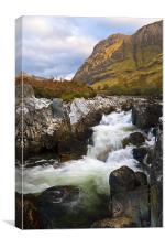 Aonach Dubh & Waterfall, Glencoe, Scotland, Canvas Print