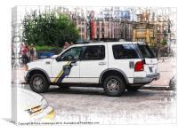 An American Polis Car in Glasgow, Canvas Print
