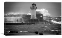 Ardrossan Lighthouse Versus the Sea, Canvas Print
