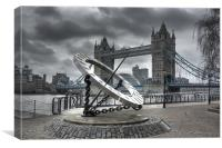Tower Bridge & Sundial, Canvas Print