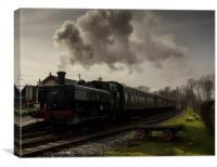 Kent and East Sussex Steam train at Bodiam , Canvas Print