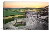 Almscliffe Crag Sundown, Canvas Print