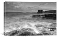 Craster Harbour Waves, Canvas Print