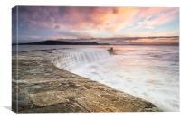 Sunrise falls at Lyme Regis Cobb, Canvas Print