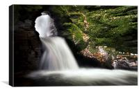 St Nectarn`s Glen Waterfall., Canvas Print