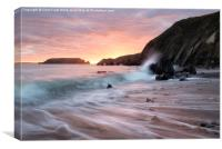 Sunset Waves at Marloes Sands, Canvas Print