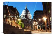 Light painting at St Pauls Cathedral, Canvas Print