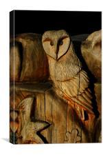 Wooden Owl, Canvas Print