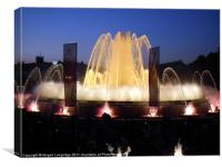 Montjuic Fountain by night - Barcelona, Canvas Print