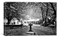 Snow covered Graveyard and church, Canvas Print