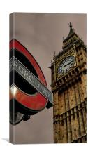 Westminster Clock Tower & Underground Sign, Canvas Print