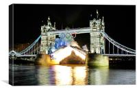 Tower Bridge Fireworks, Canvas Print