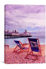 Eastbourne Beach & Deckchairs, Canvas Print