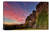 Pevensey Castle Sunset, Canvas Print