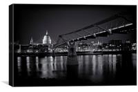Millennium Bridge & St Pauls Cathedral, Canvas Print