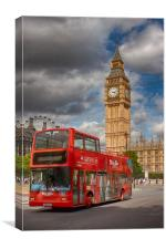Big Ben and Red Bus, Canvas Print